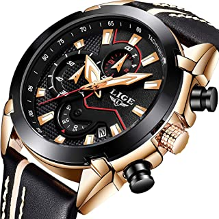 LIGE Mens Watches Chronograph Waterproof Military Sports Analog Quartz Watch Gents Big Face Leather Strap Date Fashion Casual Dress Wrist Watch Rose Gold Black