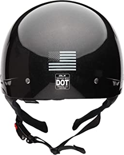 [Limited Edition Fourth of July USA Flag] GLX Cruiser Scooter Motorcycle Half Helmet DOT Approved + 2 Retractable Visors (Black Shimmer, XX-Large)
