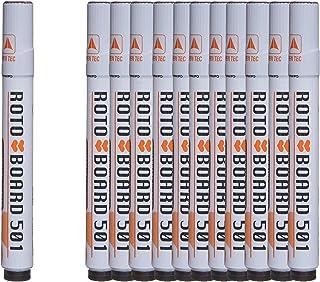قلم ماركر للسبورة بسن مشطوف بورد 501 من روتو، 12 قلم - اسود