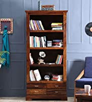 Modern Furniture SolidSheesham Wooden Book Shelf with Rack | Book Shelf with 4 Drawers Storage | for Living Room, Home...