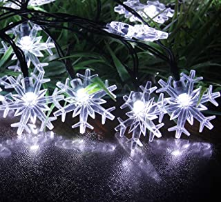 SPLOcolor Solar Snowflake Christmas String Lights, 20ft 30 LEDs Waterproof 8 Modes Solar Powered String Fairy Lights Patio Lights r Outdoor Lighting for Christmas Patio Holiday Party (White)