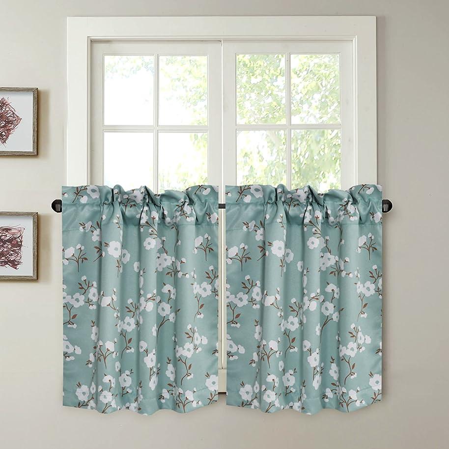 H.VERSAILTEX Energy Saving Ultra Soft Casual Kitchen Curtains Rod Pocket Window Curtain Tiers for Café, Bath, Laundry, Bedroom - Aqua Floral Pattern - (58