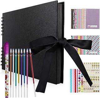 Hianjoo Album Photo Scrapbook, 40 Feuilles Livre de mémoire des Pages Noir 29 * 20cm Fait à la Main Album Bricolage (8 sty...