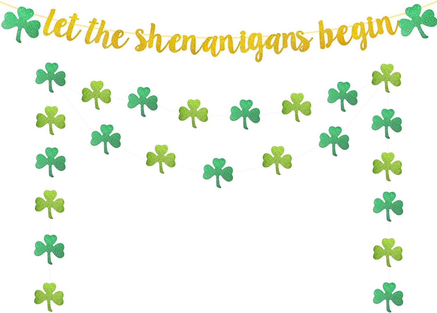 Weimaro Let The Shenanigans Begin Banner, Glittery St. Patrick's Day Decorations, Indoor Home St Patricks Day Sign, St Patty's Day Deocrations, Welcome Irish Party Decorations Supplies