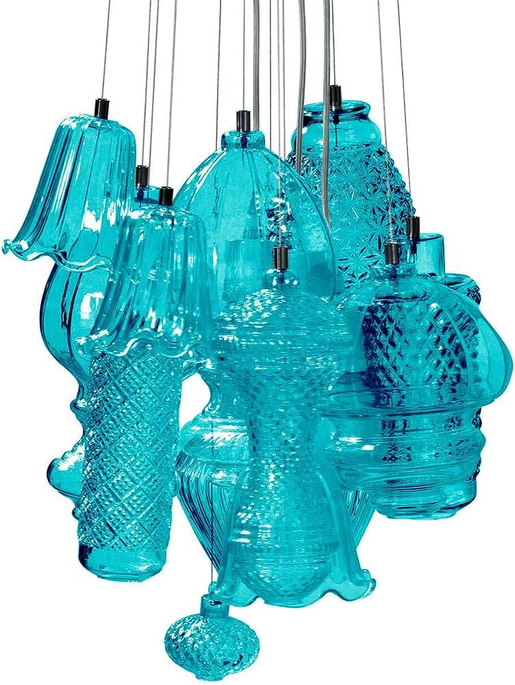 Karman ceraunavolta, lampadario composizione 12 pezzi, in vetro azzurro tiffany SE1342T00A