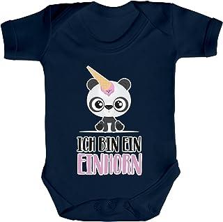 ShirtStreet Geschenkidee Unicorn Eis Ice Cream Strampler Bio Baumwoll Baby Body kurzarm Jungen Mädchen Panda - Ich bin ein Einhorn
