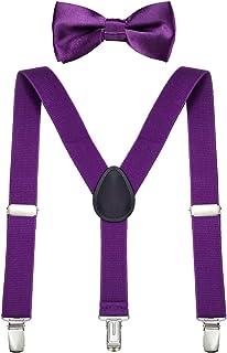 DonDon Ensemble Bretelles et noeud papillon garçon élastique et longueur ajustable pour enfants de 1 à 8 ans