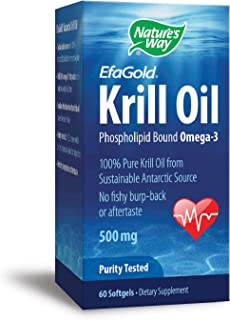 Nature's Way EfaGold Krill Oil Omega-3 100% Pure Krill Oil, No fishy burp-back, 500 mg, 60 Count