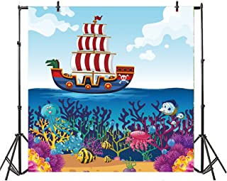 Leyiyi Cartoon Pirate Ship Backdrop 5x5ft Photography Background Sail Boat Octopus Seaweed Blue Sea Water Children Baby Portraits Studio Props Room Decor