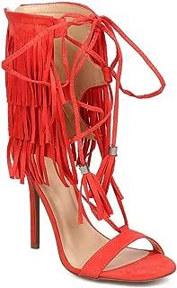 Wild Diva Women Suede Open Toe Gilly Tie Tassel Wrap Fringe Stiletto Sandal DH71