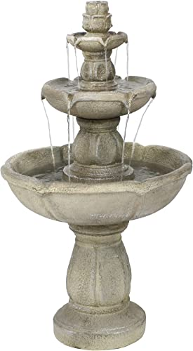 discount Sunnydaze Birds' sale Delight Outdoor Water Fountain - 3 Tiered Fountain & Bird Bath Backyard Water Feature online sale - 35 Inch Tall outlet sale