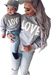 120a25f7390b8 Minetom Maman Et Bébé Enfants Imprimé Col Rond Manches Longues Sweat-shirt  Tops Mignon Fille