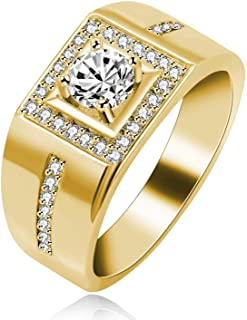 Uloveido Men's Square Wedding Band Cubic Zirconia Comfort Fit Gold/Platinum/Rose Gold Plated Engagement Ring Size 6 7 8 9 KR201