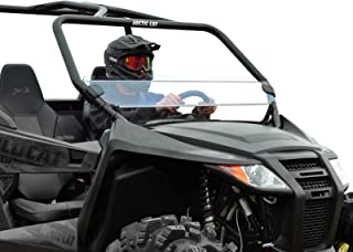 SuperATV Heavy Duty Scratch Resistant Half Windshield for Arctic Cat Wildcat Trail (2014+) - Hard Coated for Extreme Durability and Long Life!