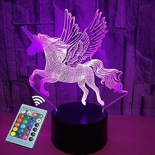 Luz nocturna 3D, chicos y chicas Lámpara de mesa con interruptor táctil Mando a distancia de 16 colores Cambio de colores- iluminación cnsunway Regalos perfectos