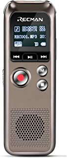 TNP Digital Voice Recorder w/ Playback, Rechargeable Voice Activated Dictaphone w/ Noise-Reduction Stereo Mic 8GB, Includes Call Recording Adapter, Headphone - MP3 / WAV / FM Radio Player for Lectures