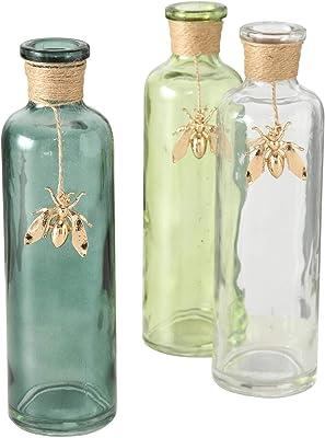 CasaJame Lot de 3 vases en verre assortis avec cordon et abeille dorée 22 x 7 cm