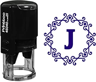 Printtoo R-40 Self Inking Alphabet J Monogram Octagon Celtic Swirl Frame Rubber Stamp Office Stationary-Violet