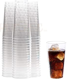 Plastic Drinking Glasses | Heavy Duty Clear Plastic Cups | Disposable Glasses | 16 oz Pint Cups - 100 Pack | Old Fashioned Tumbler Party Cups | ideal for Cocktails, Wine, Champagne, Juice. [Drinket Co