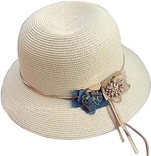 Straw Hat Beach Hat Round Cap Summer Shade Sunscreen Ladies Caps(Beige)