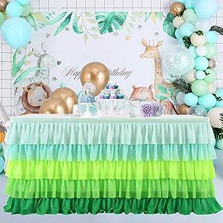 مفرش طاولة أخضر مكشكش توتو لحفلات أعياد الميلاد وحفلات لواو هاواي شاطئ استوائي حفلة جزيرة الحيوانات ديكور الحفلات