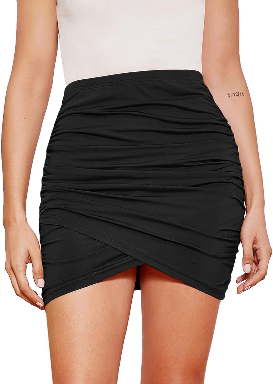 Floerns Women's Solid Ruched Wrap Asymmetrical Hem Bodycon Mini Skirt