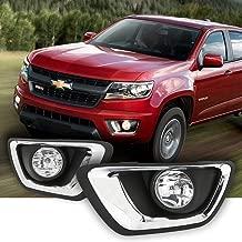 LEDIN For 2015 2016 2017 2018 2019 Chevrolet Colorado Chevy Clear Lens Fog Lights Kit w/Bezel Bulbs