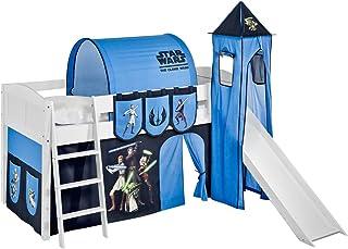 Lilokids IDA 4106 Star Wars The Clone Wars Lit mezzanine avec toboggan – Lit mezzanine séparable blanc – avec rideau, tou...