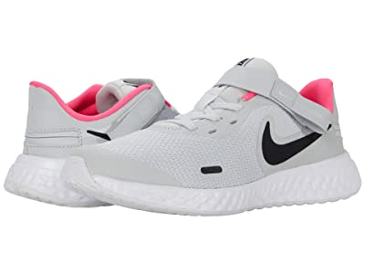 Nike Kids Flyease Revolution 5 (Big Kid) (Photon Dust/Black/White/Pink Glow) Kids Shoes