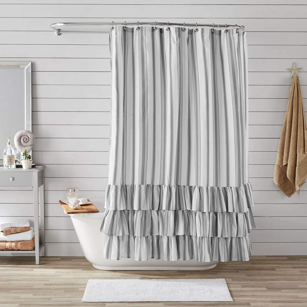 LUGEUK Better Homes & Gardens Striped Ruffle Printed Polyester Microfiber Fabric Shower Curtain, Ruffled Tiered Border, Dark Charcoal and White Vertical Stripe, 72