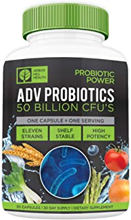 Wholefood Power High Potency 50 Billion CFU Probiotics | No Gluten Or Dairy, No GMO's, No Refrigeration Required | Targete...