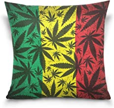 "MASSIKOA Cannabis Leaf On Grunge Rastafarian Flag Decorative Throw Pillow Case Square Cushion Cover 18"" x 18"" for Couch, B..."