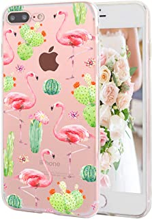 iPhone 8 Plus iPhone 7 Plus Case Floral Pattern Clear Soft TPU Slim Flexible Shockproof Phone Cases for Women Girls-Red Flamingo Green Cactus[5.5