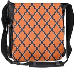 Doinh marokkanisches Muster Messenger-Tasche, Segeltuch, schräg, für Damen und Herren, Marineblau/Orange