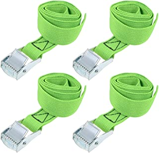 """uxcell® Lashing Strap 1"""" x 2.6' Cargo Tie Down Straps with Cam Lock Buckle Up to 551lbs Green 4pcs"""