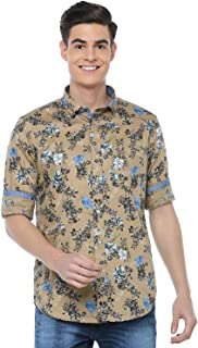 ADNOX Floral Printed Full Sleeve Cotton Slim Fit Shirt for Men