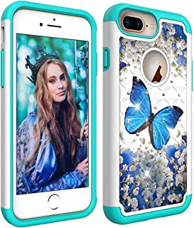 Wiitop for Apple iPhone 8 Plus Case,iPhone 6S Plus Shell,iPhone 7 Plus Back Protective Cover Heavy Duty Tough Dual Layer 2 in 1 Rugged Rubber Hybrid Hard Plastic Soft TPU Bling Crystal Blue Butterfly