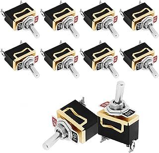 NATEE 10 Stück Kippschalter 15A 250V/AC, EIN/AUS 2 Pin SPST Wippschalter mit Metallhebel, Hochleistungs Flachfuß Kippschalter, für Auto Truck Boat KFZ LKW
