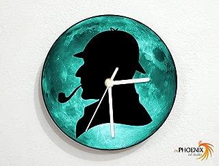 Sherlock Holmes - Teal Full Moon - Mystery Detective - Murder Case - Universe Stars Space Galaxy Solar Planet - Custom Name Wall Clock
