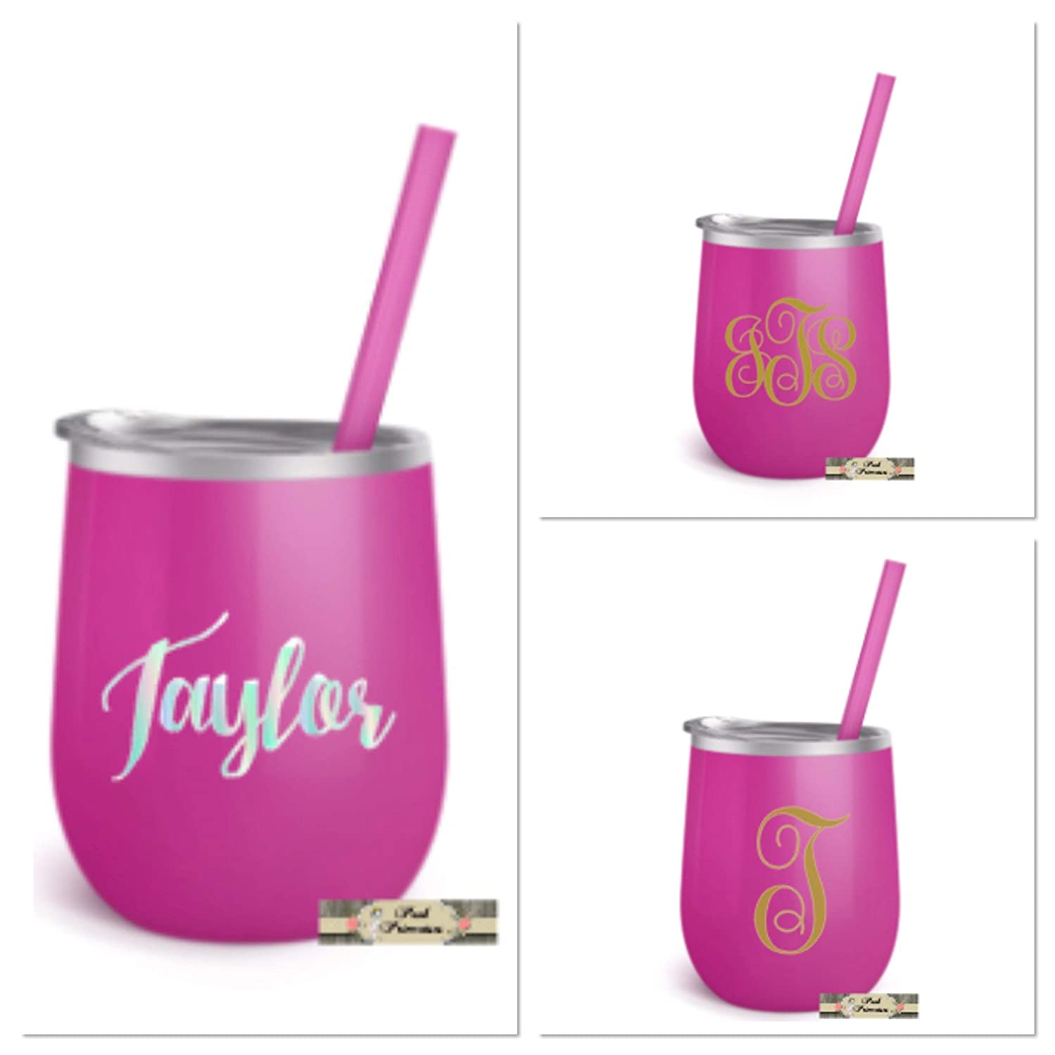 Stainless Steel Wine Tumbler, ONE 12oz Cup Personalized with Monogram, Lid and Straw, Mother's Day, Teacher Appreciation, Bachelorette Bridal Wedding Gifts, Fuscia