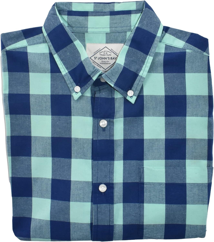 St. John's Bay Men's Short Sleeve Button Down Shirt (Green Buffalo)