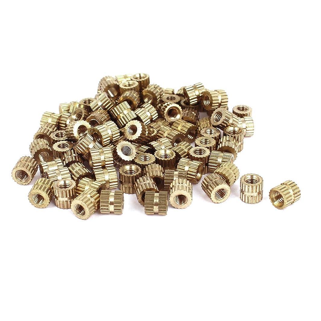 uxcell M3x5mm(L)-5mm(OD) Metric Threaded Brass Knurl Round Insert Nuts 100pcs