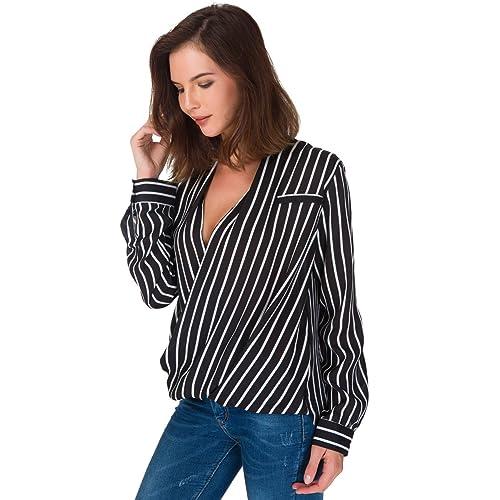 22faf2e6c7e7ea Eliacher Women's Casual Striped Chiffon Blouses Loose Wrap Front Surplice  Long Sleeves Shirt