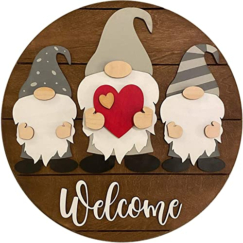 """discount Gnome Welcome Sign for Front Door Welcome Wreath Wall Decorations outlet online sale Scandinavian Tomte Wood Door Hanger Ornaments for Spring Summer Easter sale Mother's Day Home Room Porch Decor, 12"""" online"""