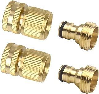 2 Sets (4 PCS) Brass Quick Hose End Connector Garden Hose Nozzle Connect Kit
