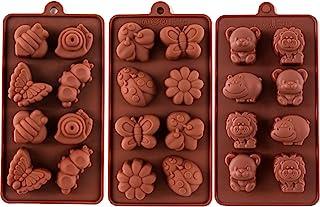 STARUBY Moule à Chocolat en Silicone, Moule à Bonbons au Chocolat Antiadhésif, Moules à Savon, Lot de 3 Thèmes de la Forêt...