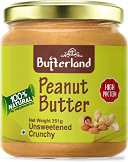 Butterland Peanut Butter 100% Natural | Unsweetened Crunchy | 351grams | 30% protein | No Added Sugar | No Added Salt | Ve...