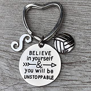 Personalized Volleyball Unstoppable Initial Keychain, Volleyball Players Gifts, Believe in Yourself You Will Be Unstoppable Keychain for Men and Women