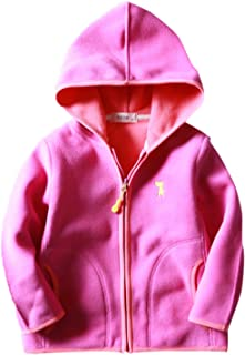 Happy Cherry Girls Fleece Jacket Hooded Zipper Up Outwear Long Sleeve Coat 2-8T
