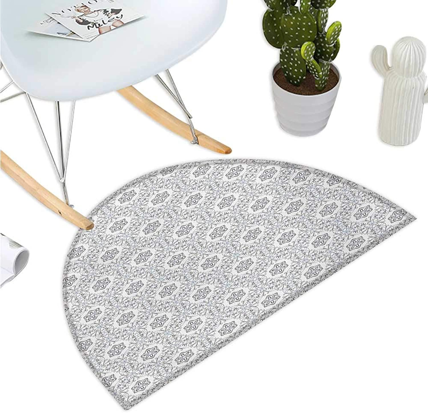 Floral Semicircular Cushion Scroll Style Pattern with Curled Leaf Motifs Abstract Modern Mosaic Tile Entry Door Mat H 51.1  xD 76.7  Black bluee and White